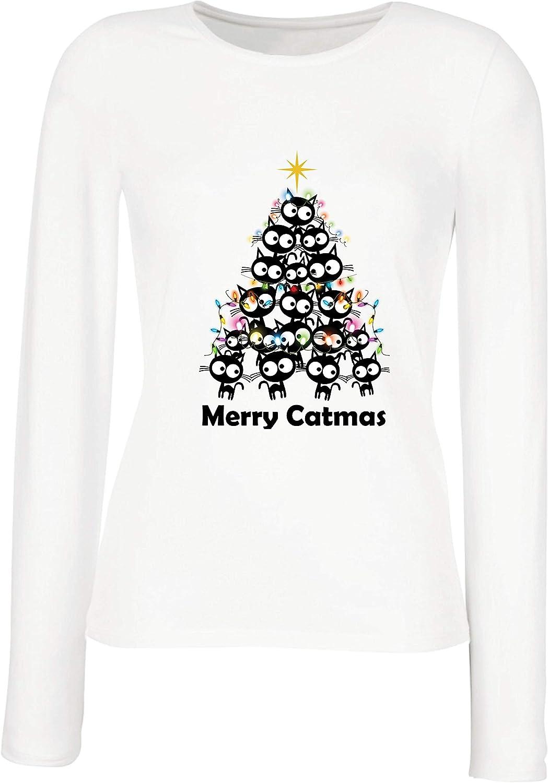 lepni.me Camisetas de Manga Larga para Mujer Feliz Navidad de Catmas Meowy Regalo para los Amantes de los Gatos navideños: Amazon.es: Ropa y accesorios