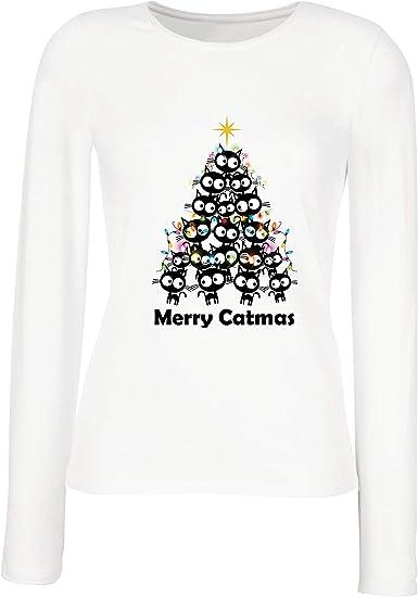 lepni.me Camisetas de Manga Larga para Mujer Feliz Navidad de ...