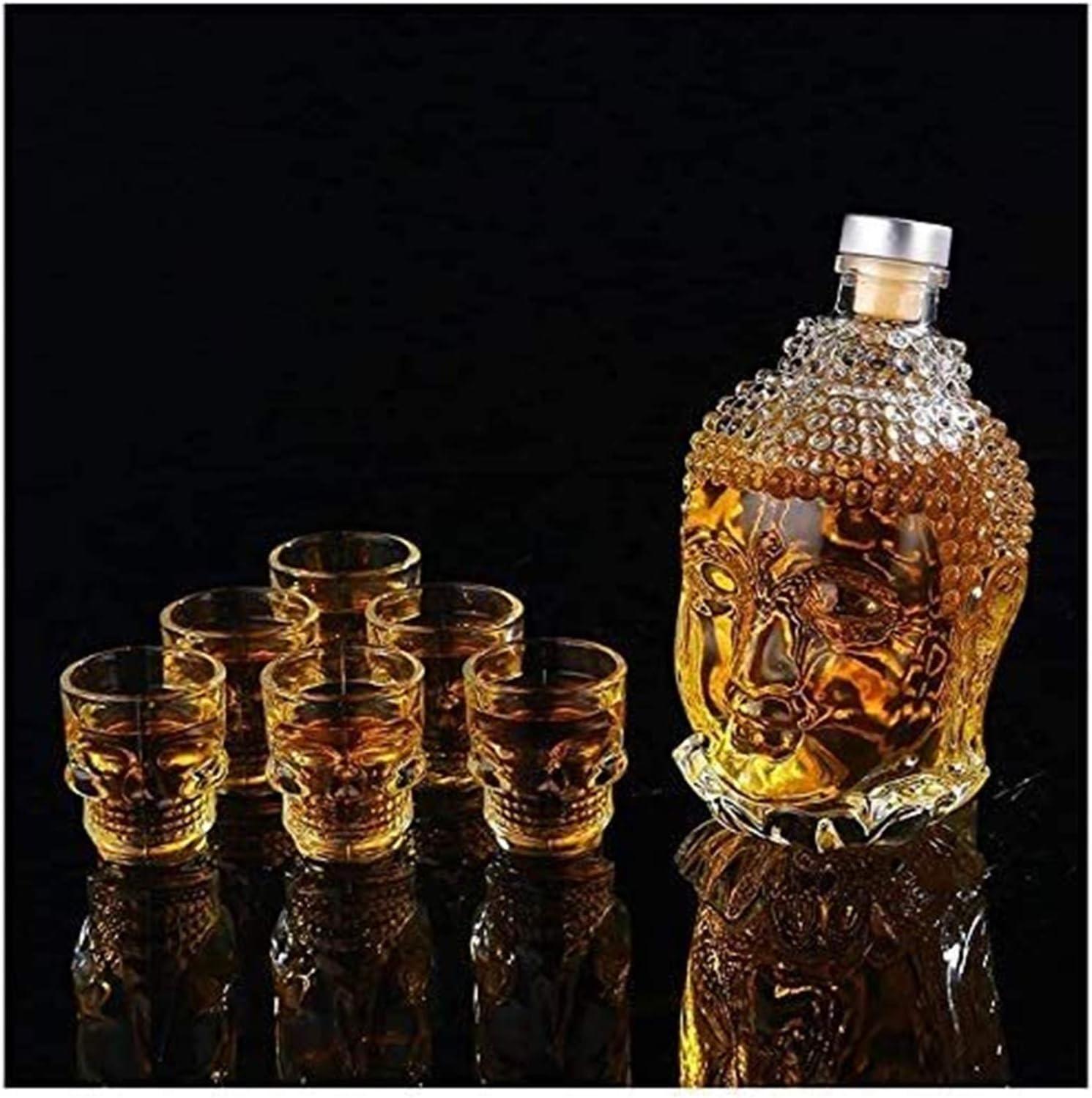 Casual Buddha Forma De Cabeza Whiskey Decanter 750ml Botella De Agua Cristal De Cristal Líder Gratis para Licor Gin Bourbon Scotch Vodka 12x20cm MUMUJIN (Color : C)
