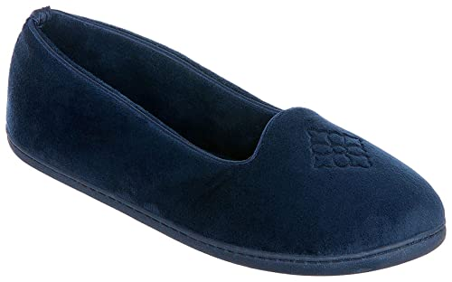 76156d20b431 Dearfoams Women s Micro Velour Embroidered Closed Back Slippers