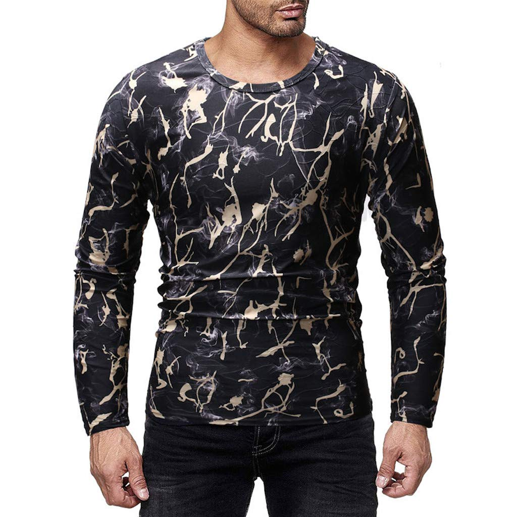 Men O-Neck Printed Blouse,Long Sleeve Shirt Pullover Top Casual Blouse,SUNSEE Teen New by Sunsee (Image #2)
