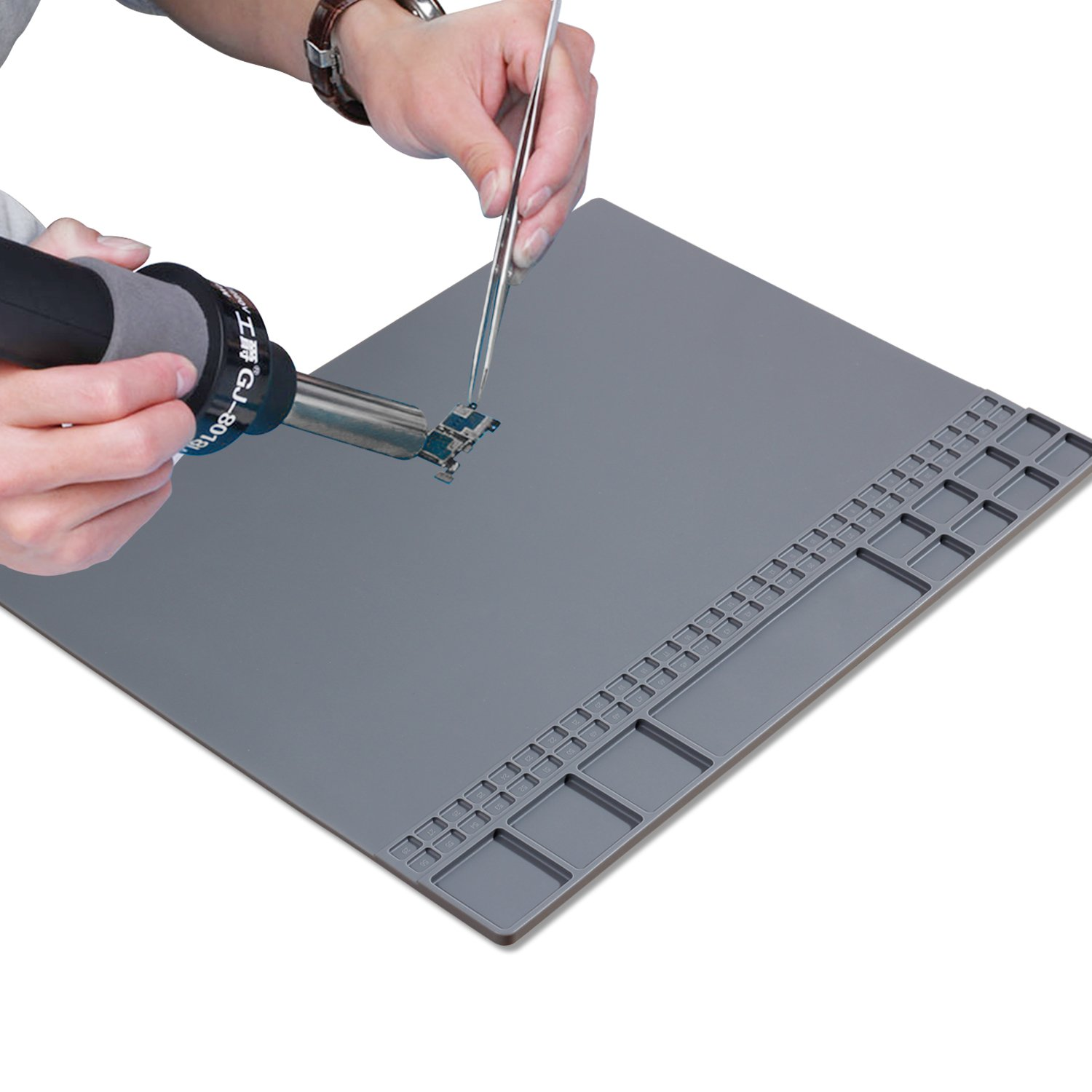 Large Magnetic Soldering Mat 932°F Heat Resistant Silicone Solder Pad for Soldering Station Heat Gun,Cellphone, Laptop Repair, Portable Workbench Mat with Size 15.9'' x 12'' by BEEVIVO (Image #1)