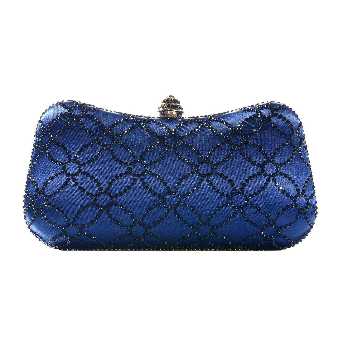 DMIX Women Clutch Purse Hard Case Shiny Evening Bag Glitter Handbag With Chain Strap Navy Blue