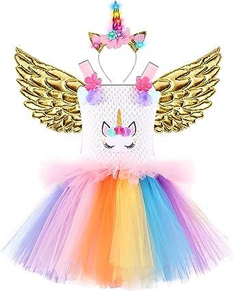 Amazon.com: 3 unidades de vestido de unicornio para niñas ...