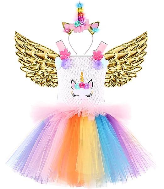 Amazon.com: 3 piezas de vestido de unicornio para niñas con ...