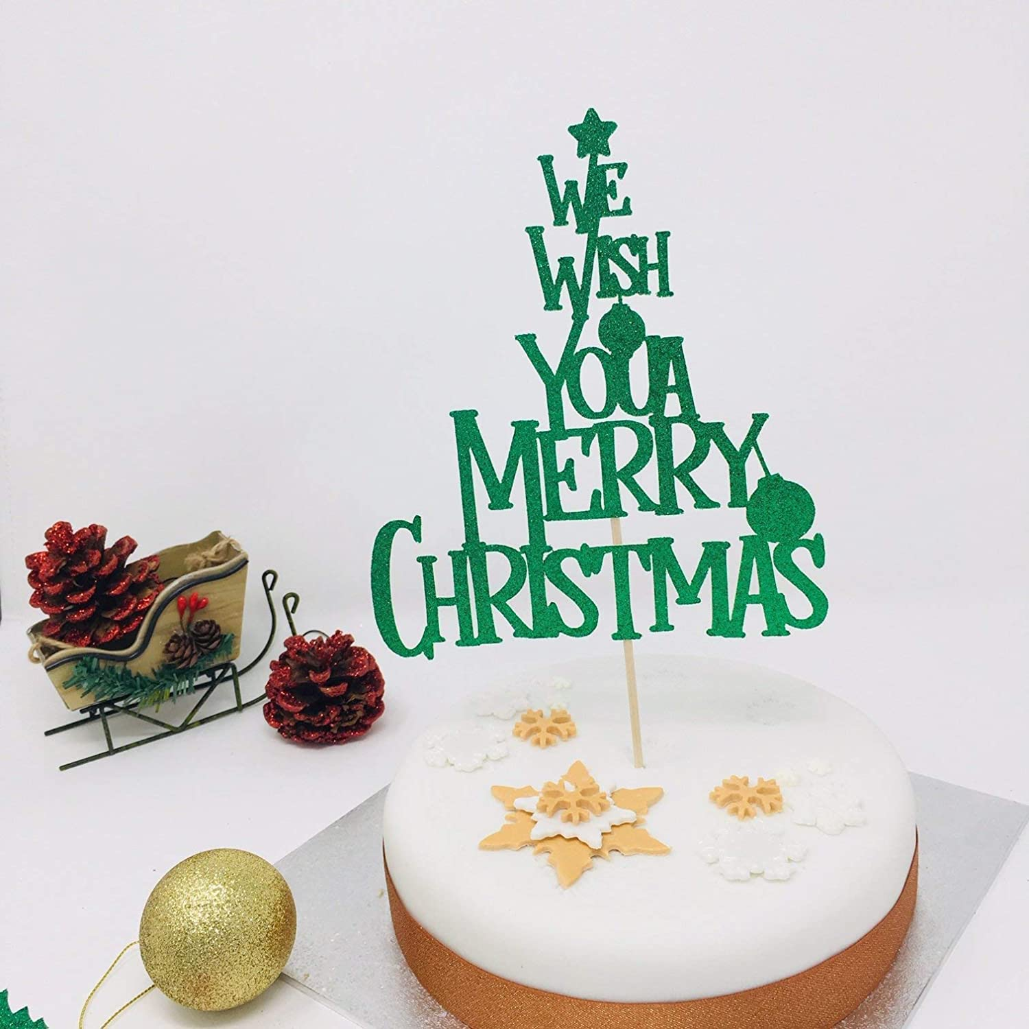 We wish you a Merry Christmas cake topper Christmas cake decoration with glitter topper Christmas table decorations.