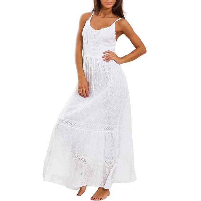fe08b211ff5b Toocool - Vestito donna abito lungo pizzo sangallo cotone Ibiza boho chic  leggero IND-9953  Taglia unica