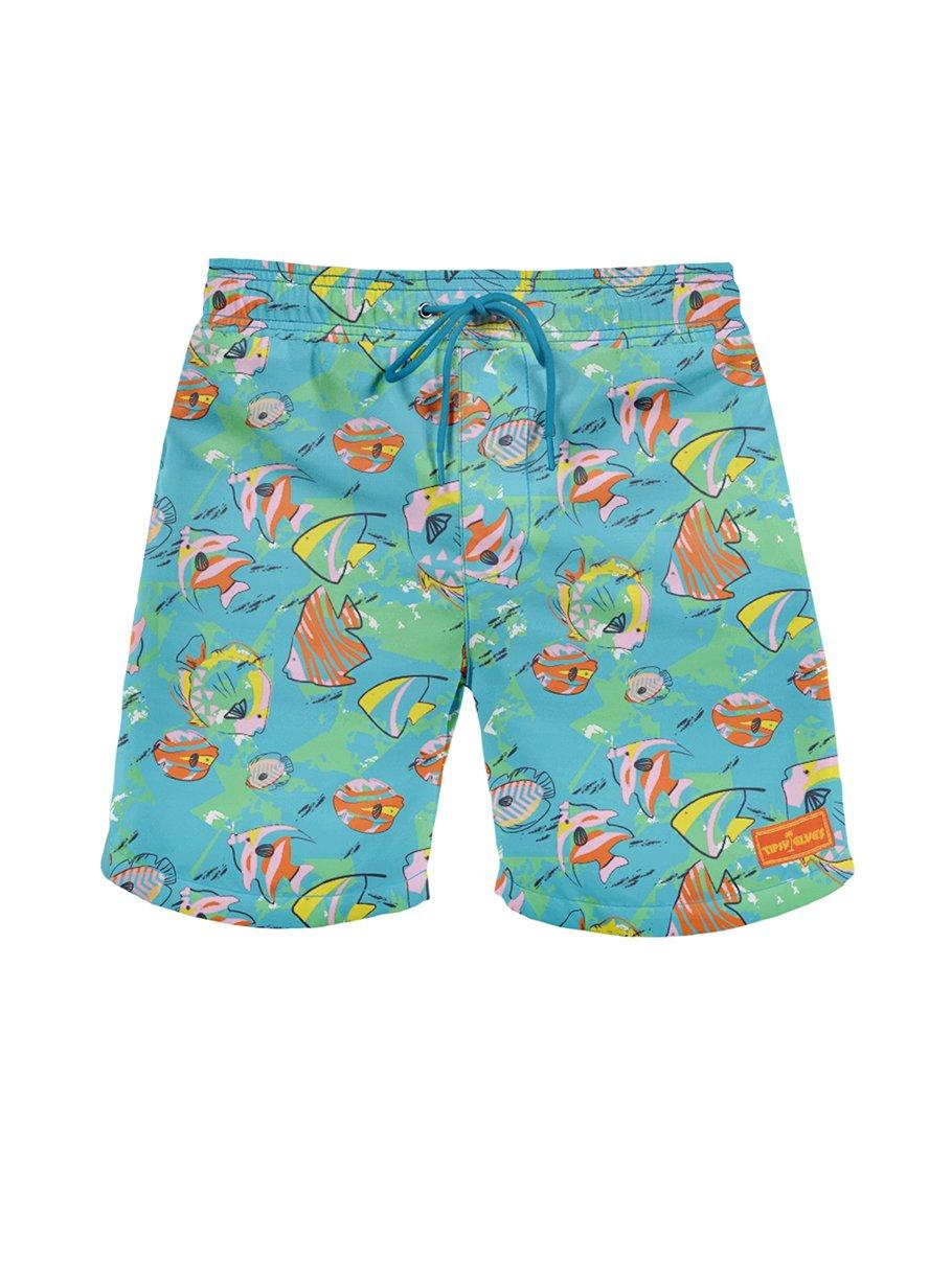 Tipsy Elves Fish Bowl Beach Shorts: Medium