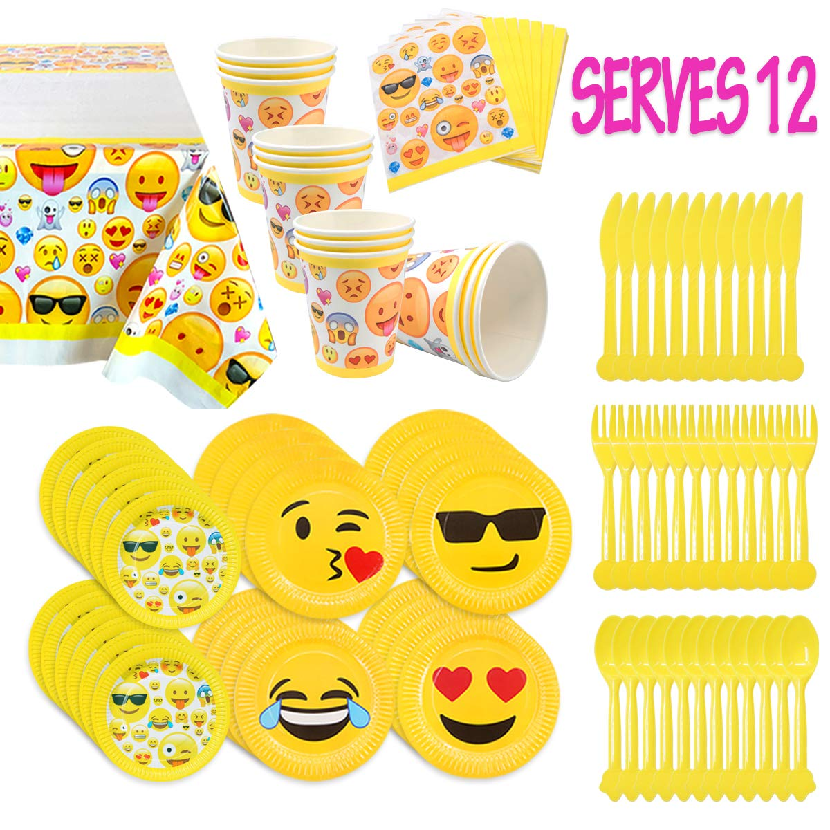 Amazon MelonBoat Emoji Party Supplies 93ct Birthday Decorations Kit Tablecloth Paper Plates Cups Napkins Happy Bulk Pack Serves 12 Toys