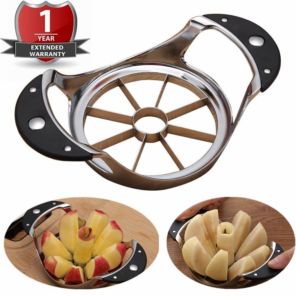Stainless Steel Apple Slicer Pear Divider Dragon Fruit Corer 304 Grade 8 blades Splitter Ultra Sharp Cutter Wedger Kitchen Tool Extra Large Size Ergonomic Silicone Rubber Cushioned Soft grip Handle