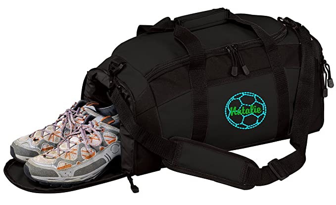 7906e85092 All about me company Personalized Soccer Gym Sports Duffel Bag (Black)