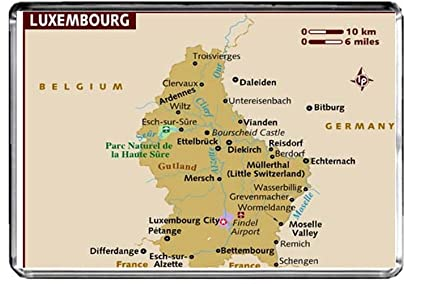 Amazon.com: M118 MAP of Luxembourg Fridge Magnet Luxembourg ...