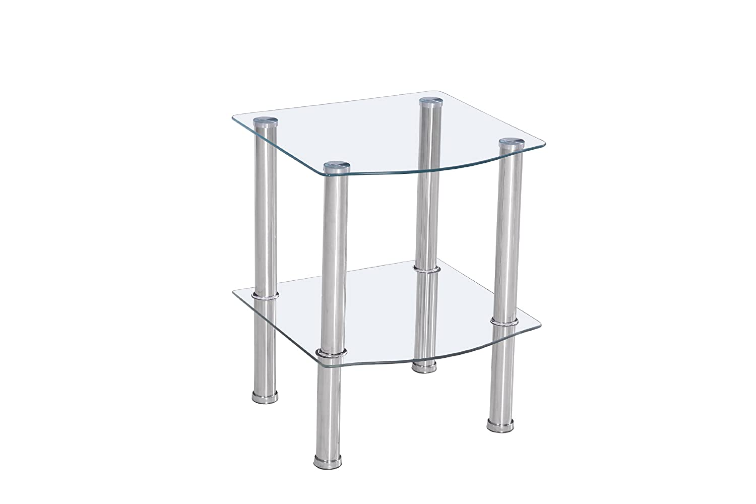 2 Tier Glass Side Table with Chrome Legs - Stylish Design available in Black or Clear - Perfect as Coffee or Lamp Table (Clear) Home Detail