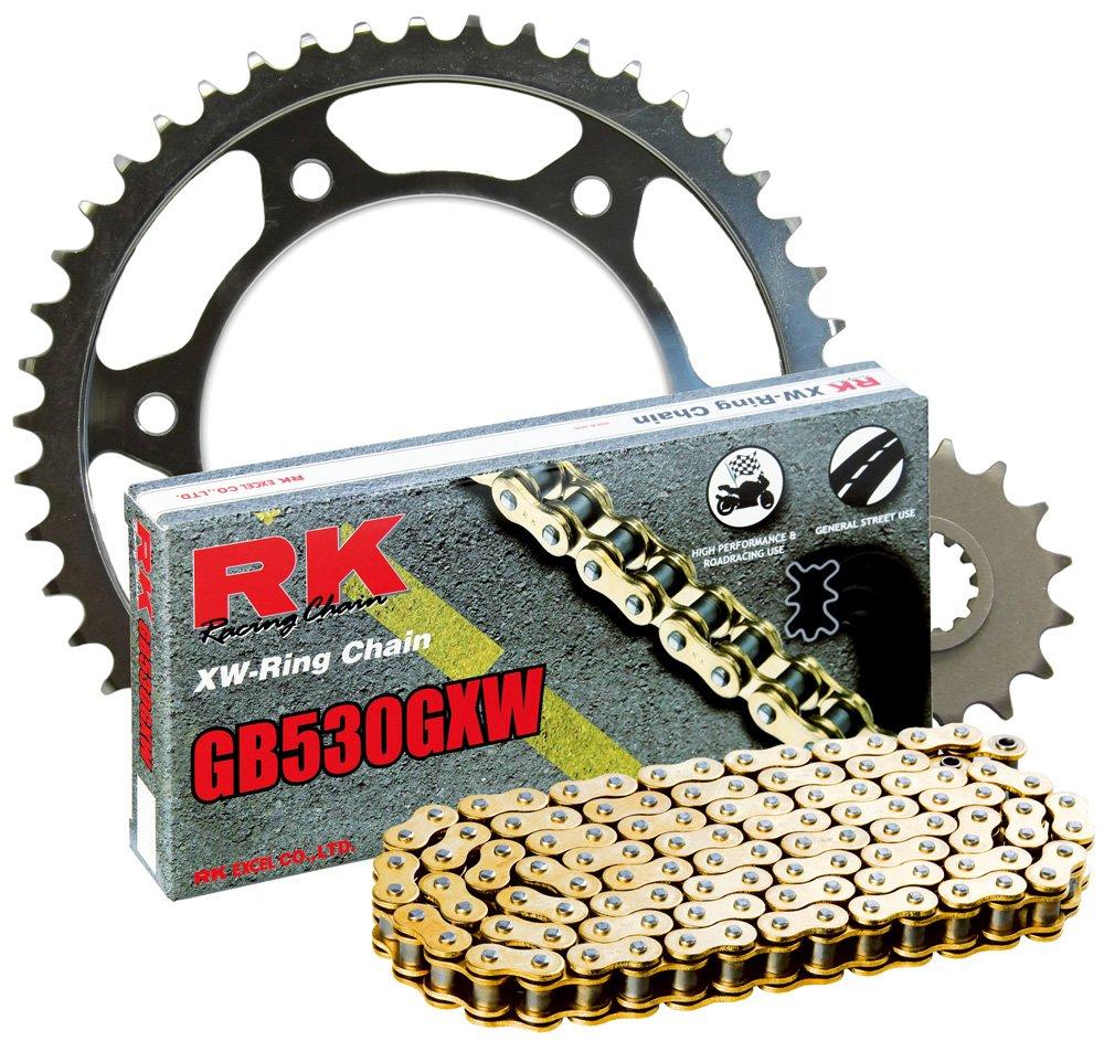 RK Racing Chain 3136-990WG Steel Rear Sprocket and GB530GXW Chain 20,000 Mile Warranty Kit