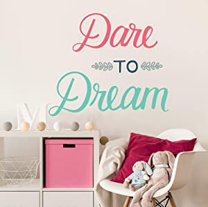 Wall Decal - Wall Decor - Inspirational Quote. Peel and Stick Wall Stickers - Great for Girls Bedroom Decor, Teens, Classroom and Teachers. Easy to Remove. Vinyl Quote - Dare to Dream.