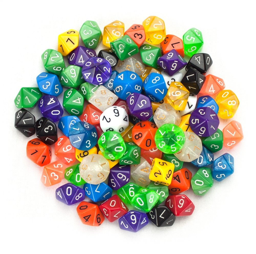 100+ Pack of Random D10 Polyhedral Dice in Multiple Colors By Wiz Dice