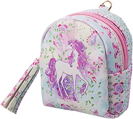 2 Pezzi PU Unicorno Mini Borsetta Mini Carta del Portafoglio Portachiavi Pochette Portamonete con Cerniera per Donne Ragazze Regalo di Natale