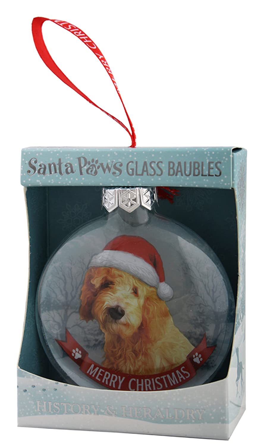 Santa Paws Glass Ornaments Bauble-Goldendoodle Ornament, Multicolor History & Heraldry 265020037