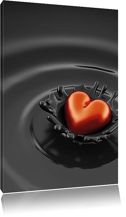 Rojo Corazón en Chocolate en gran angular de lienzo, XXL enormes ...