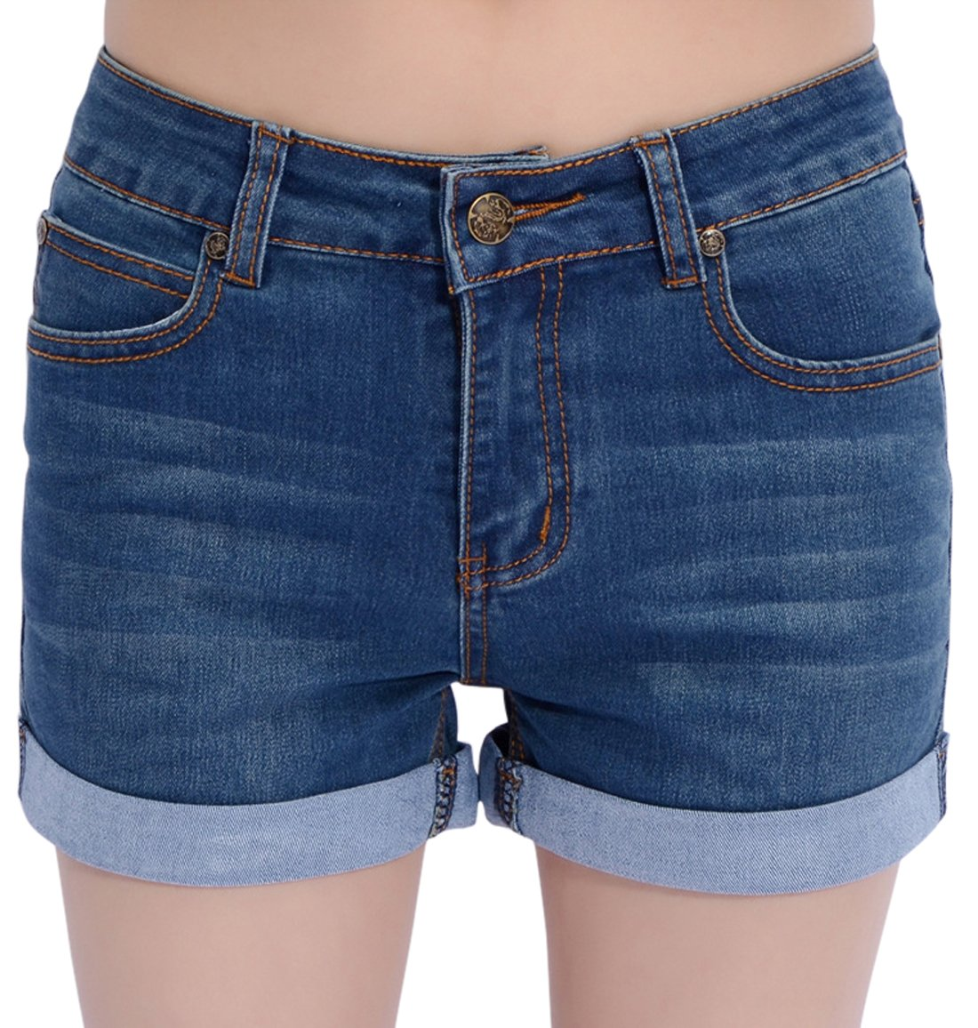 Chouyatou Women's Basic Stretched Mid-Rise Turn-up Cratched Denim Shorts (Large, Blue)