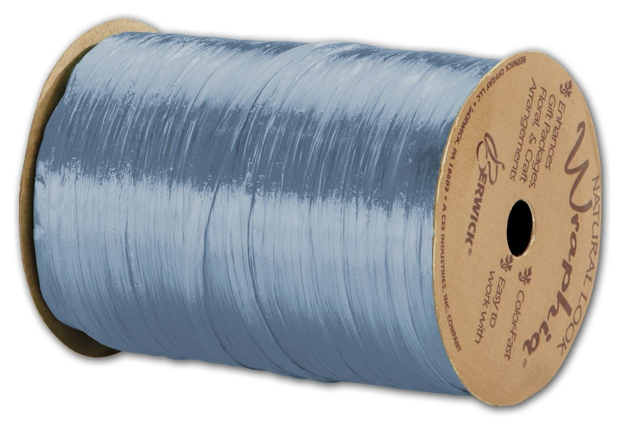 Solid Raffia - Pearlized Wraphia Williamsburg Blue Ribbon,1/4x100 Yds (3/pack) - BOWS-263-2-91 by Miller Supply Inc