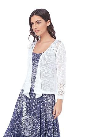 c6112d96ec584 Roman Originals Boléro Femme Ouvert Crochet - Simple Uni Mariage Cérémonie Manches  3/4 Semi