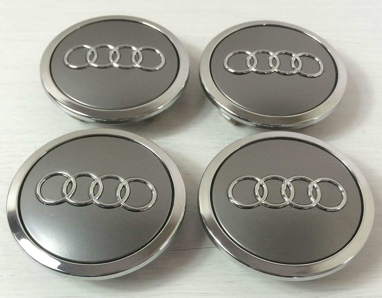 Set di 4 Audi in lega spille grigio Coprimozzo centrale 69 mm 4B0601170 A S3 S4 A2 A3 A4 A6 A8 TT RS4 Q5 Q7 S3 S4 A6 S6 RS6 TT e altri modelli anato