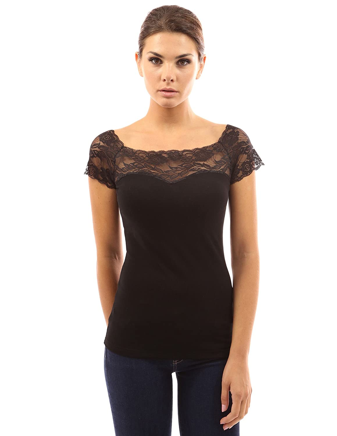 PattyBoutik Women's Square Neck Lace Insert Top