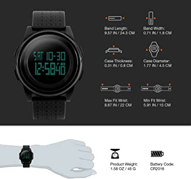 Reloj digital deportivo de pulsera para hombre, electrónicos, militar para correr al aire libre con alarma, calendario, LED, resistencia al agua a 50 ...