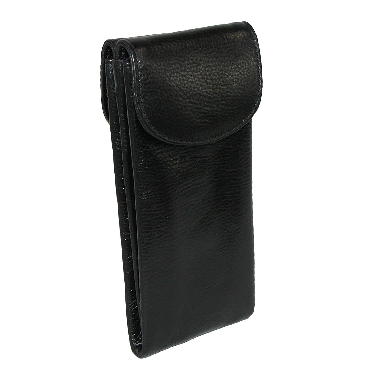 Black CTM/® Womens Leather Double Eyeglass Holder Case