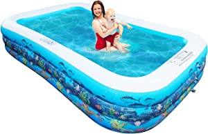 10ft Full-Sized Inflatable Swimming Pool, Upgraded 0.4mm Thicker Rectangular Family Lounge Pools, Outdoor Backyard Water Play Blow Up Above Ground Pools for Adults, Kiddie, Kids