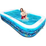 10ft Full-Sized Inflatable Swimming Pool, Upgraded 0.4mm Thicker Rectangular Family Lounge Pools, Outdoor Backyard Water Play