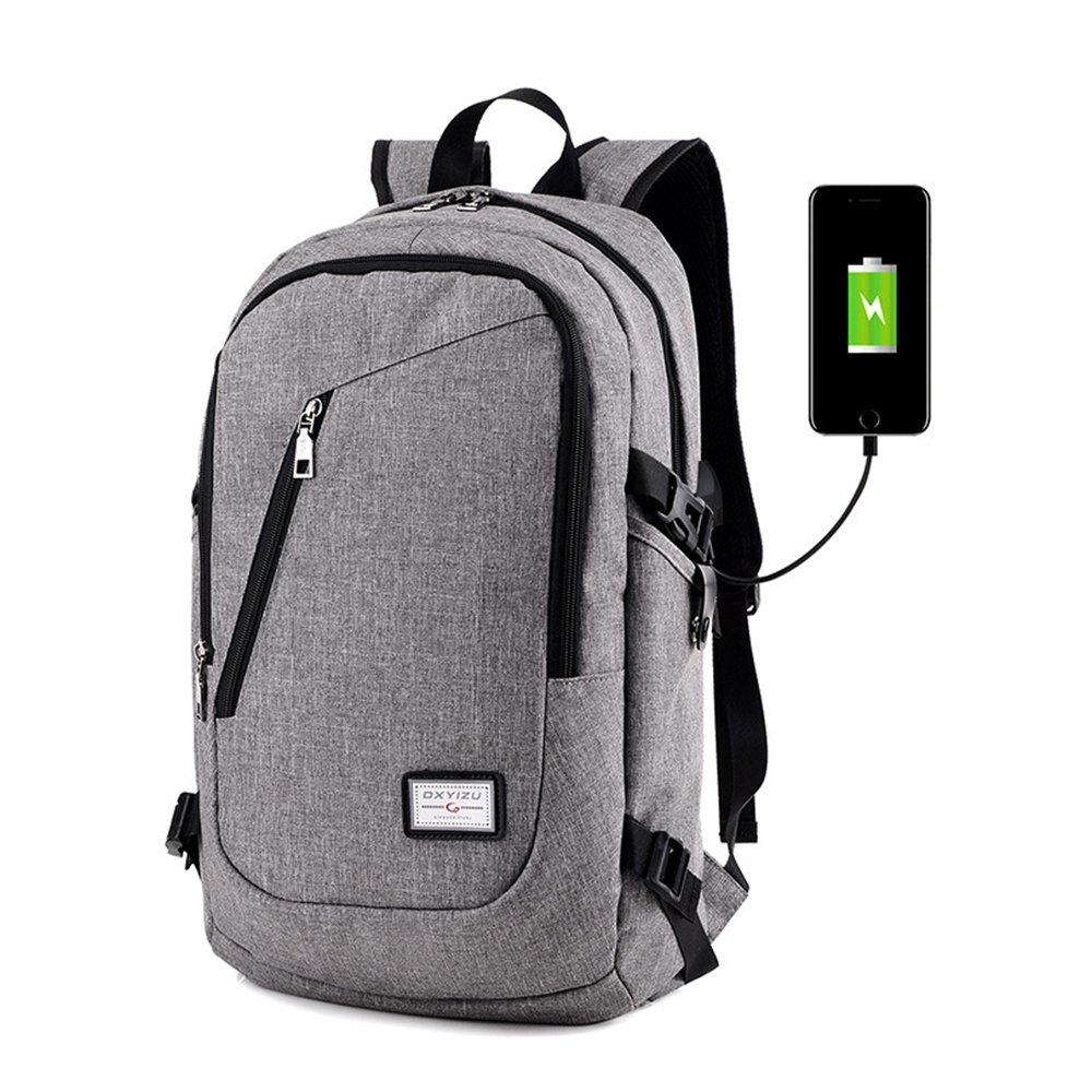 Laptop Backpack with USB Charging Port Fits 12-15.6 inch Laptop/Notebook-Lightweight Waterproof School Rucksack Business Knapsack Travel Hiking Daypack for Men Women College (Lightgrey) iLeadon