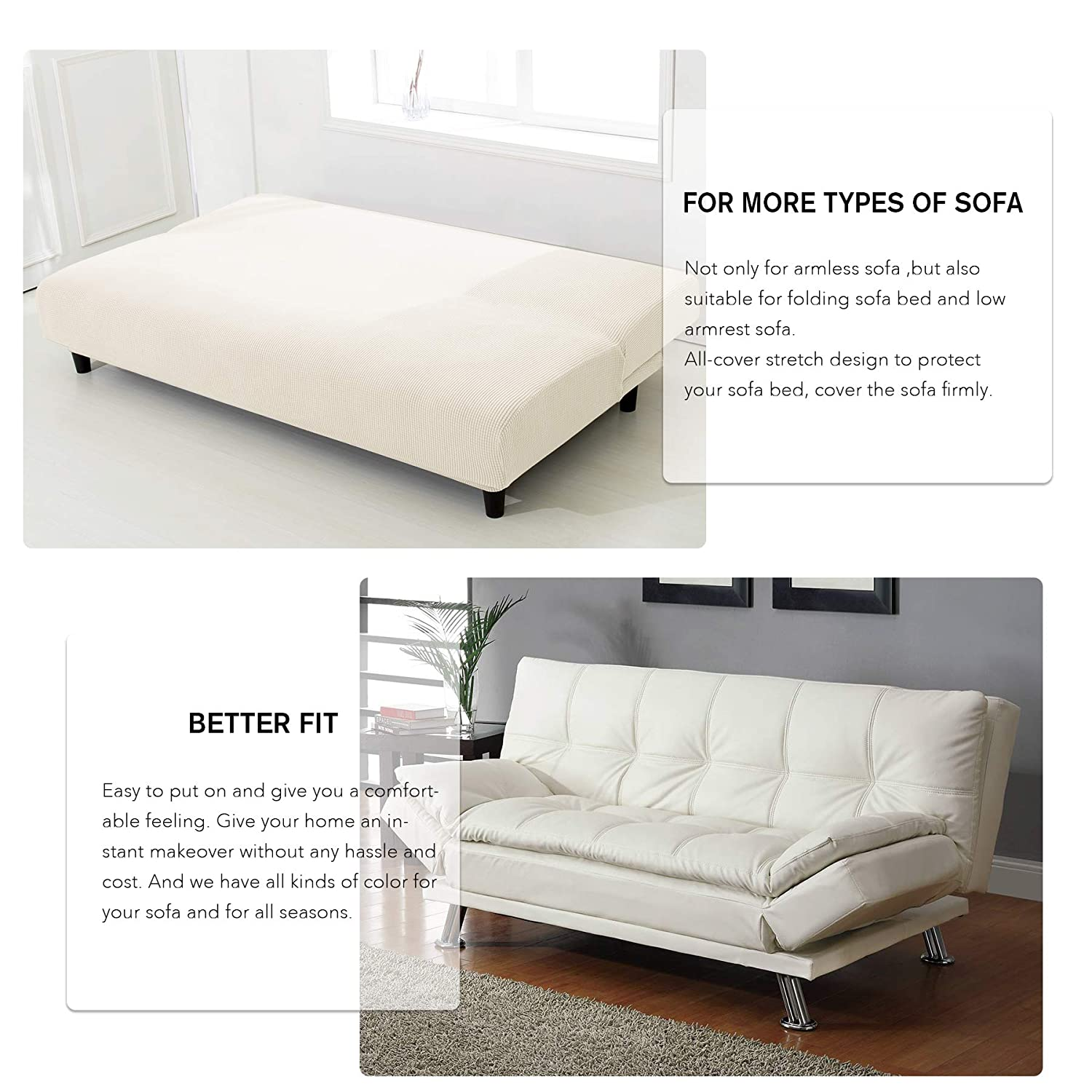 CHUN YI Armless Sofa Slipcover Elastic Fitted Full Folding Sofa Bed Cover Without Armrests,Removable Machine Washable Non-Slip Furniture Protector for Futon Couch Bench Sofa, Gray