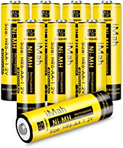 iMah HR6 AA Rechargeable Batteries for Solar Lights 800mAh 1.2V Ni-MH Battery for Outdoor Pathway Garden Lamps, Pack of 8
