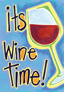 Toland Home Garden It's Wine Time 12.5 x 18 Inch Decorative Funny Happy Hour Party Double Sided Garden Flag