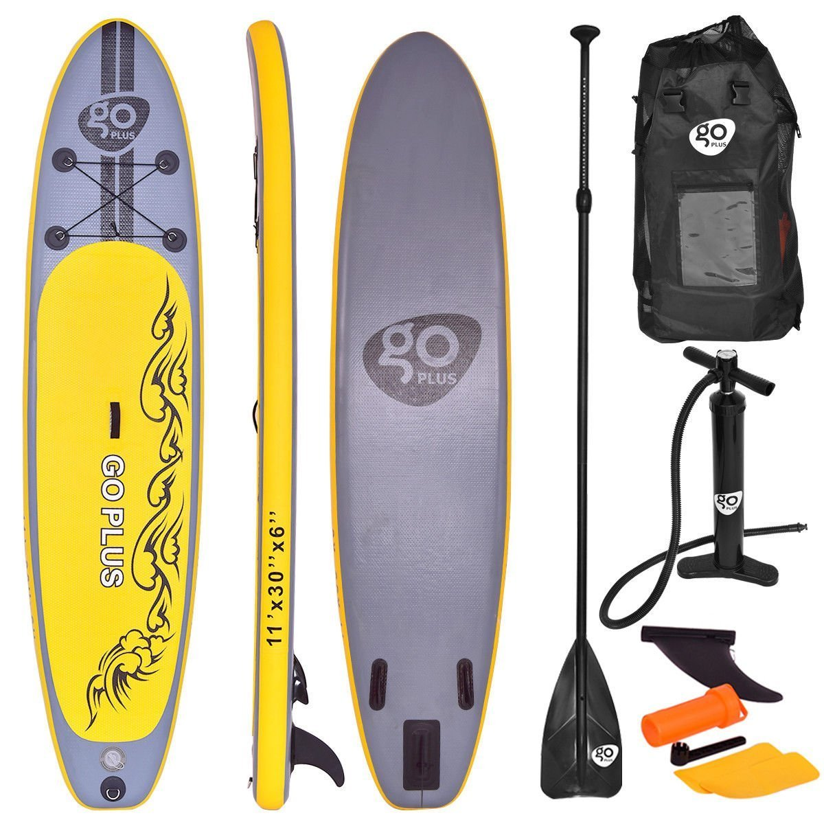 Goplus Inflatable Stand up Paddle Board Surfboard SUP Board with Adjustable Paddle Carry Bag Manual Pump Repair Kit Removable Fin for All Skill Levels, 6'' Thick (Yellow, 11 FT)