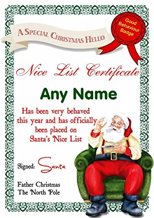 White Santas Letter Personalised Christmas SantaS Nice List Certificate