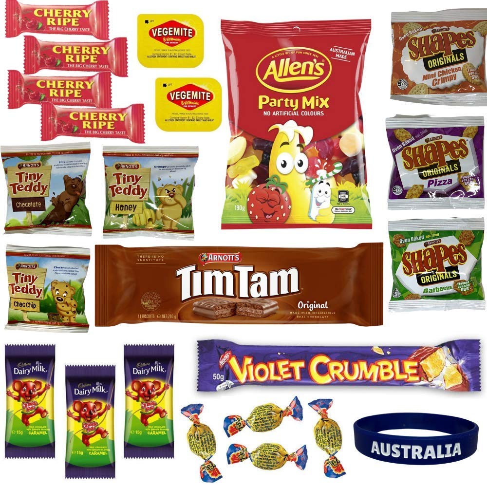 Best of Australia Chocolate & Snack Box - Most Popular Australian Snacks - Tim Tam, Allen's Party Mix, Vegemite, Cherry Ripe, Shapes, Tiny Teddy, Fantales, Caramello Koala & More Treats