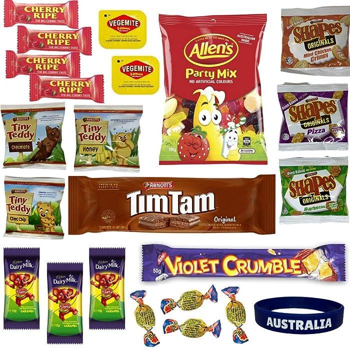 Best of Australia Chocolate & Snack Box - Most Popular Australian Snacks - Tim Tam, Allen's Party Mix, Vegemite, Cherry Ripe, Shapes, Tiny Teddy, Fantales, Caramello Koala & More Treats
