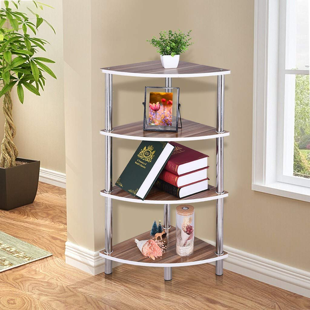 Industrial Corner Shelf, Simple 4-Tier Bookcase Storage Rack Plant Flower Pot Display Stand Organizer with Metal Frame, for Living Room Home Office (Yellow) by Excursion Home