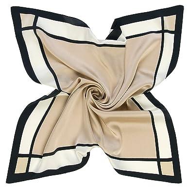 CHIC DIARY Élégant Petit Carré de Foulard Scarve en Factice Soie Square  Motif Géométrie Simple Unisexe Femme Homme pour Vêtement Décor(60cm 60cm)-Beige   ... ac012317937