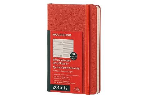 Moleskine DHF1618WN2Y17 - Agenda semanal 18 meses, pocket 9 x 14, color naranja coral