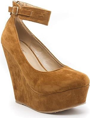 V-Luxury Delicacy Womens TRENDY67 Round Toe Platform Wedges High Heel Pump
