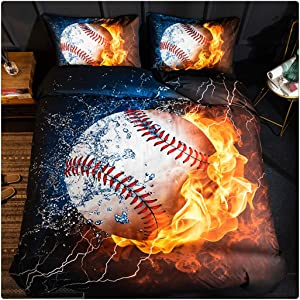 Homebed 3D Sports Baseball Bedding Set for Teen Boys,Duvet Cover Sets with Pillowcases,Full Size,3PCS,1 Duvet Cover+2 Pillow Shams