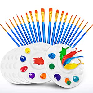 Hulameda 20 Pcs Paint Pallet Brushes with 6 Pcs Paint Trays for Kids and Adults to Painting or Have a Birthday Painting Party