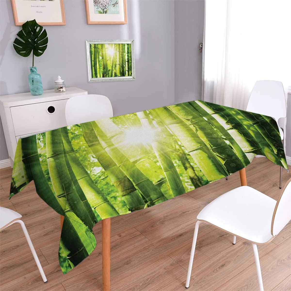 Anmaseven Asian Rectangle Customized Tablecloth Asian Bamboo Forest with Morning Sunlight Sun Beams Through Trees Jungle Scene Stain Resistant Wrinkle Tablecloth Lime Green Yellow Size: W70 x L104