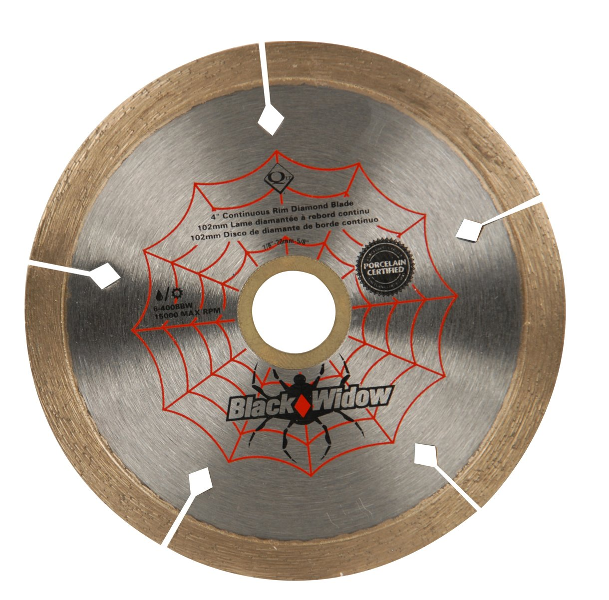 QEP 6-4008BW 4-Inch Black Widow Micro-Segmented Rim Diamond Blade, 5/8-7/8-Inch Arbor, Wet/Dry Cutting, 15000 Maximum RPM