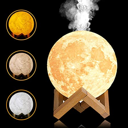 Yingjee 3d Moon Lamp Humidifier With Led Night Light And Ultrasonic 880 Ml Essential Oil Diffuser Usb Rechargeable For Baby Yoga Spa Office Bedroom Amazon Co Uk Kitchen Home