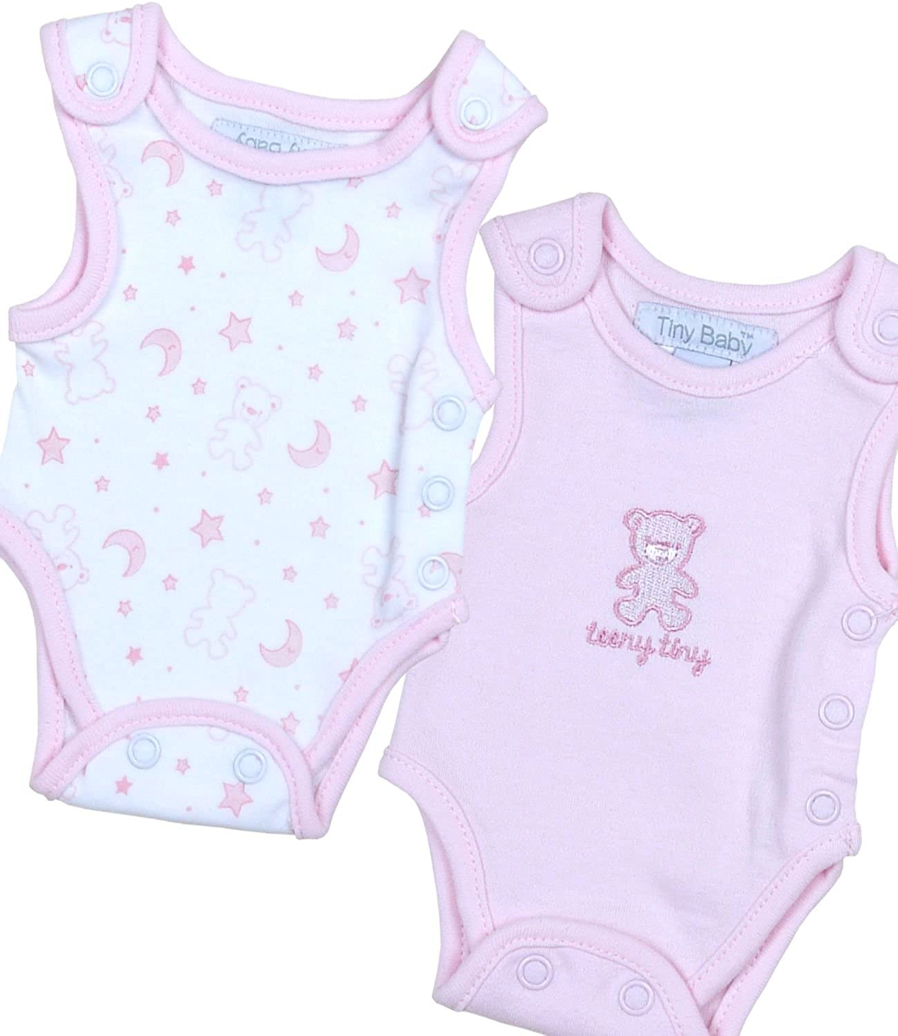 41e5a0259821 BabyPrem Preemie Pack of 2 Tiny Creepers Baby Boy Girl Cotton Teddy ...